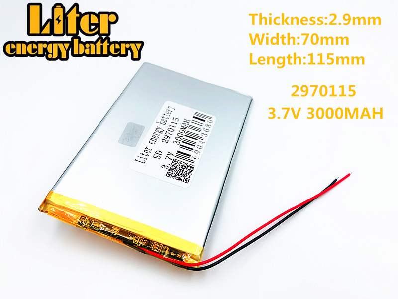 3.7 V 3000 mah tablet battery brand tablet general polymer lithium battery 2970115 7 inch tablet PC battery