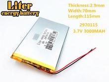 3,7 в 3000 мАч планшет батарея бренд планшет общий полимерный литиевый аккумулятор 2970115 7 дюймов планшетный ПК батарея