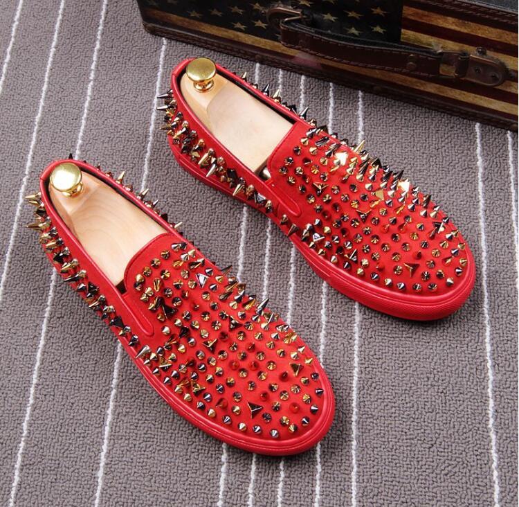 De Ouro Sapatos Fundo Preto Moda Masculinos Vermelho vermelho Preguiçosos Flats Com Estilo Preto Couro Dos Rebites Handmade Homens Nubuck g40dx08