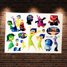 Movie Inside Out Flash Tattoo Stickers For Kids Xmas Gifts ACG-150 Cartoon Waterproof Fake Tattoo Water Transfer Tatoo Baby