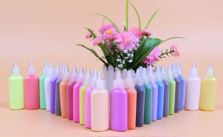12 different colors of sand painting bottles each bottle 40G bottle materials for educational font b