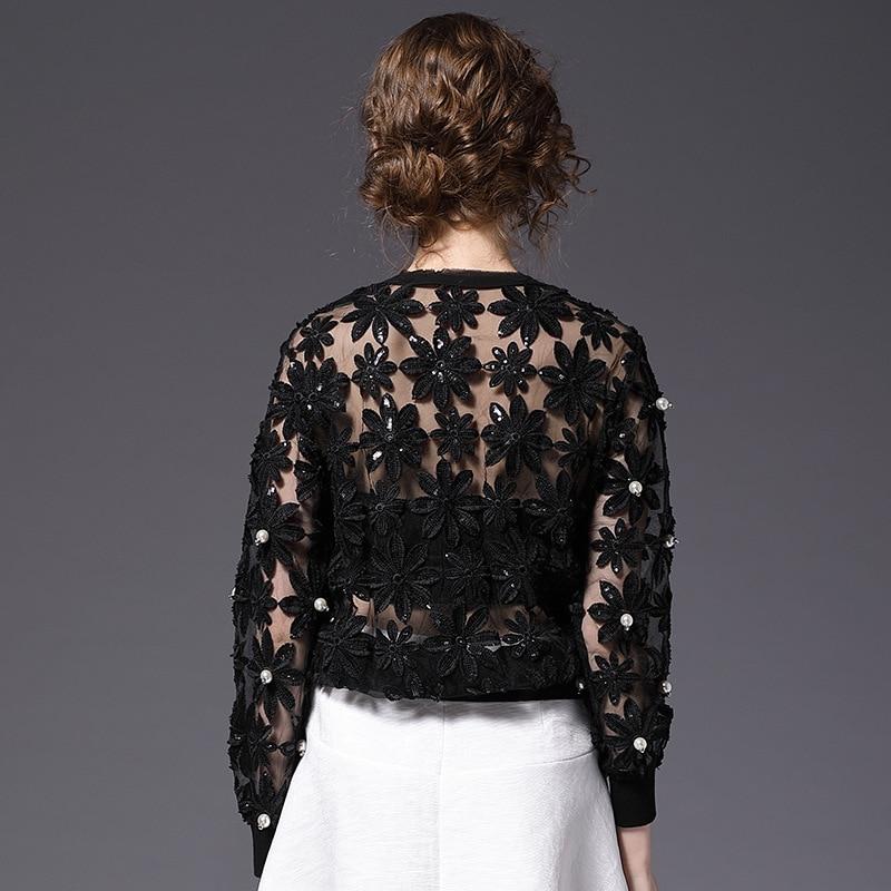 Camiseta Negro Nueva 2019 La Encaje Primavera Moda Camisa Alta Hueco Calidad gris Sexy Gasa Cuentas Flor Perspectiva Tops Mujeres Las De ZwHpw