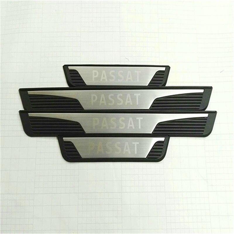 Seuils de porte extérieurs en acier inoxydable 4 pièces pour Volkswagen Passat B7 VW 2011 Passat plaques de seuil