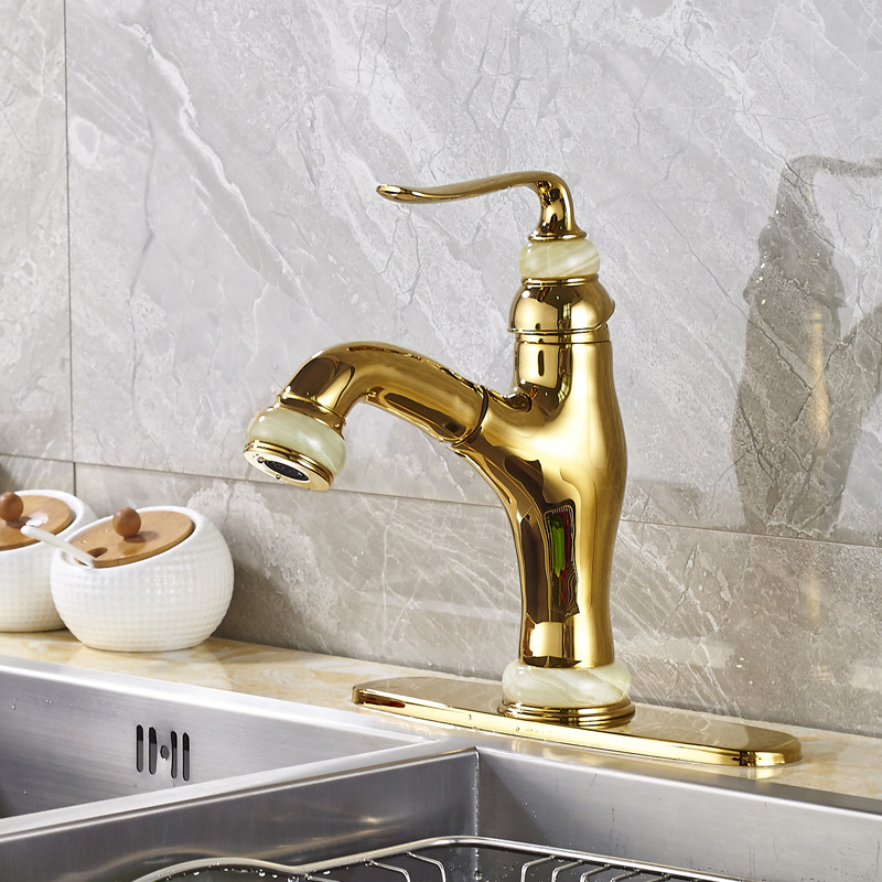 Wholesale and Retail Kitchen Sink Faucet Solid Brass Pull Out Mixer Tap with Cover Plate Gold Color wholesale and retail chrome finished pull out sink kitchen faucet swivel vessel sink mixer tap pull out crane kitchen mixer mjh8