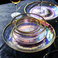 Blenden farbe gemalt gold glas schüssel schüssel sieben farbe transparent hammer korn glas platte salat schüssel obst schüssel westlichen lebensmittel