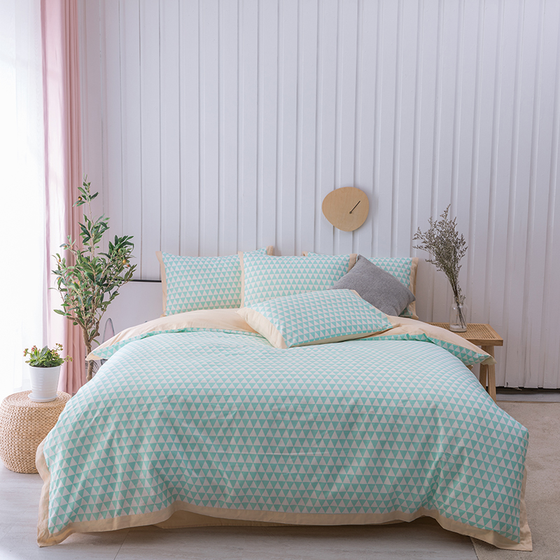Striped Geometric Green Yellow 400TC Cotton Soft Bedding sets Queen King 4pcs(1pc duvet cover 1pc bed sheet 2pcs pillow shamsStriped Geometric Green Yellow 400TC Cotton Soft Bedding sets Queen King 4pcs(1pc duvet cover 1pc bed sheet 2pcs pillow shams