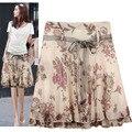 New Brand 2017 Summer Women Floral Skirt High Waist Midi Skirt Gentlewomen Ruffle Print Casual Skirts Women Saias Femininas
