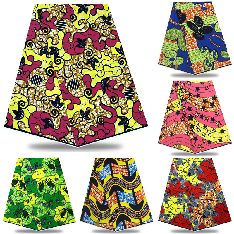 Latest African Dutch Wax Printed Veritable Wax Dutch 100%cotton 6yards For African Beautiful Party Dress KD213