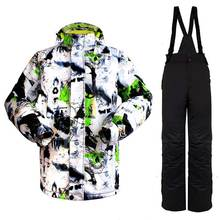 цены Snow Wild Winter ink paint 2017 NEW Men Super Warm Clothing Skiing Snowboard Jacket+Pants Suit Windproof Waterproof Winter Wear
