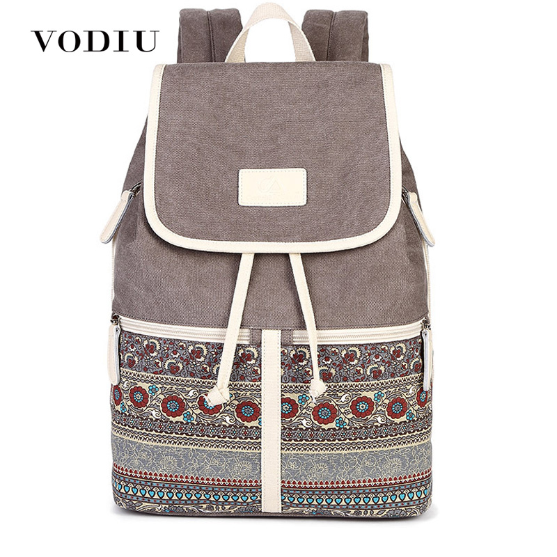 Women Backpack Feminima Schoolbags Canvas Bolsas Printing Design National Style Teenager Backpacks Female Mochila Sac A Dos