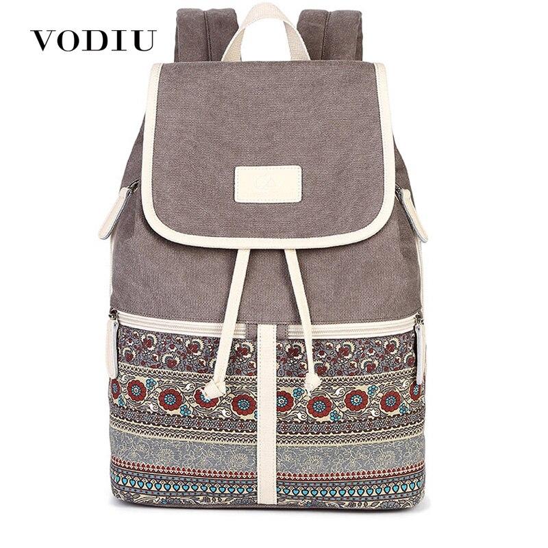 Women Backpack Feminima Schoolbags Canvas Bolsas Printing Design National Style Teenager Backpacks Female Mochila Sac A Dos
