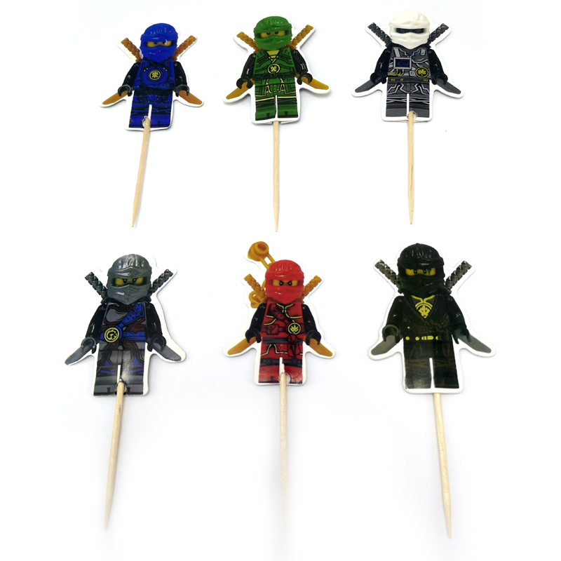 24PCS Boys Favors Decorate Birthday Party Cupcake Toppers With Sticks Ninjago Theme Cake Topper Happy Baby Shower Event Supplies