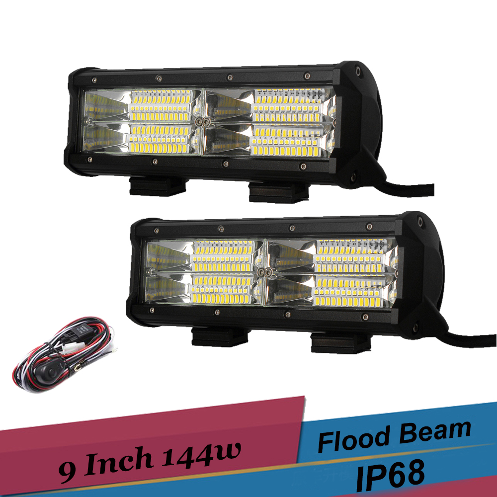 9 144W LED Light Bar Offroad 4x4 4WD LED Bar With Wire Harness SUV ATV Trailer Truck Boat Flood Beam Work Light Driving Lamp