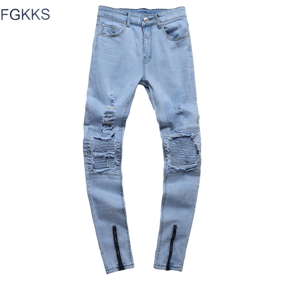 FGKKS 2018 New Brand Mens Jeans Trendy Stretch Blue Grey Denim Men Slim Fit Jeans Trousers Pants Male Jeans