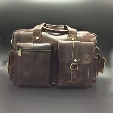 2016 New Vintage Men's Real Cow Genuine Leather Vintage Briefcase Laptop Shoulder Messenger Bag Male Big Capacity Handbag