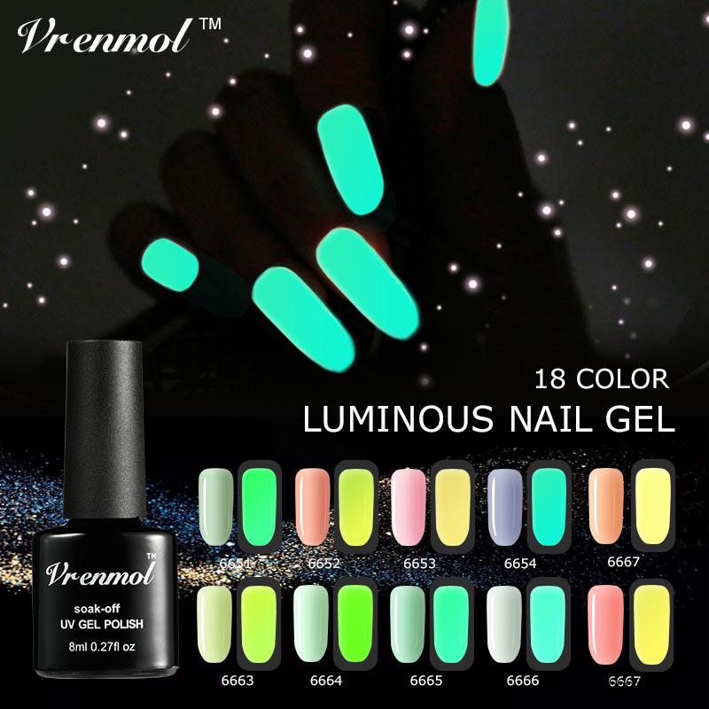 Vrenmol 8ml Shiny Fluorescent Neon Glow In The Dark Light Luminous Nail Gel Polish Art Esmalte Soak Off Long Lasting Gel Varnish
