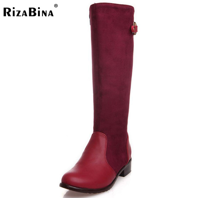 RizaBina Free shipping over knee high heel boots women snow fashion winter warm footwear shoes boot P15019 EUR size 30-47 free shipping candy color women garden shoes breathable women beach shoes hsa21