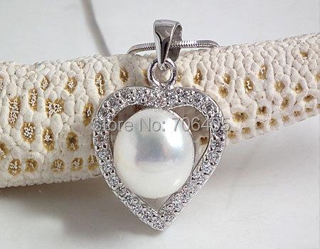 Joyería de Perlas de Agua Dulce 100% Garantizado Jansun Perlas Naturales de Plata 925 Corazón Colgante yh48004