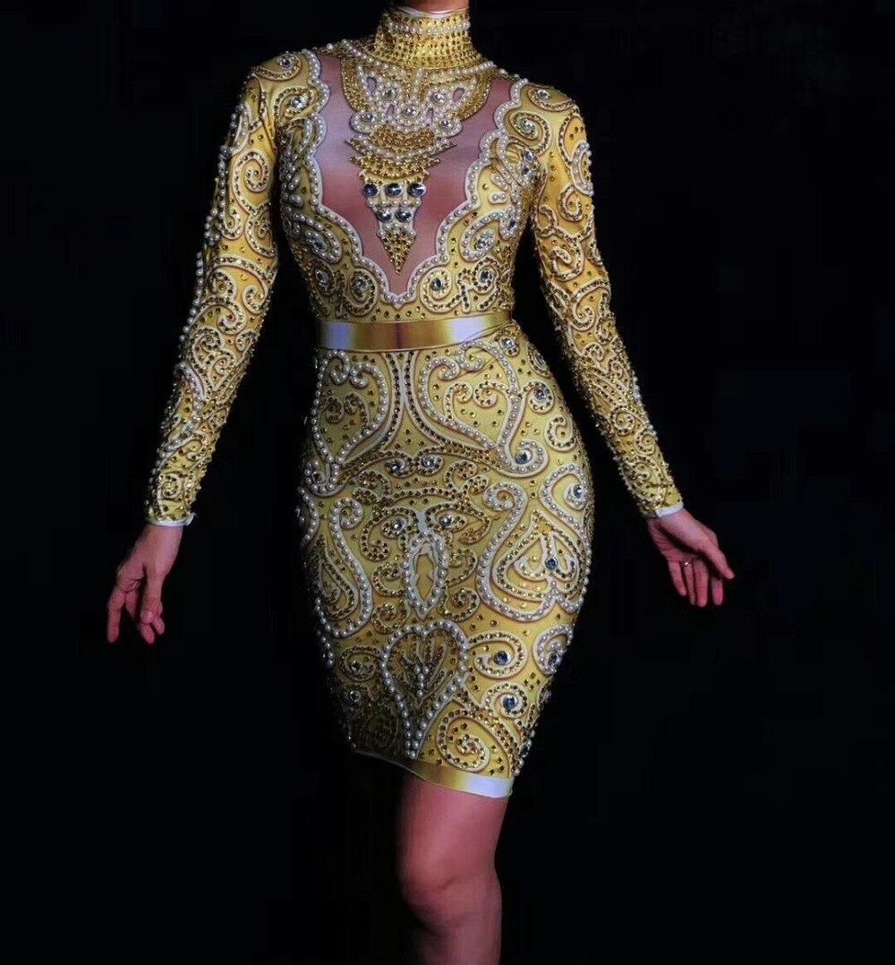 Delle donne di Nuovo Modo Brillante di Strass Perle Sexy Del Vestito A Maniche Lunghe Oro Del Vestito Femminile Cantante Celebrare Abiti Da Sera di Usura - 4