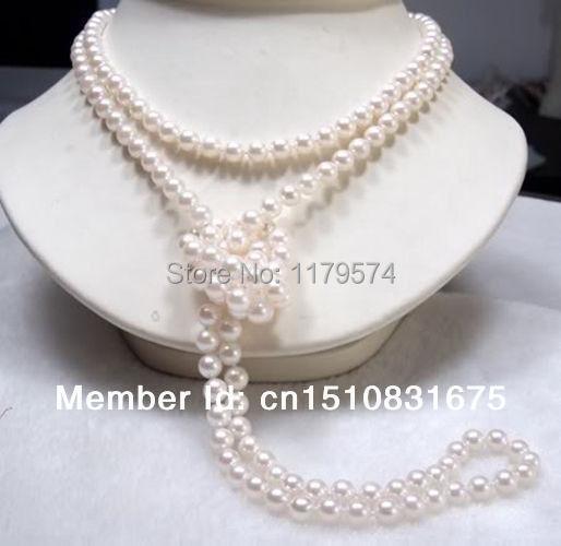 Nuevo envío de la manera del todo-fósforo de la señora joyería de Perlas 7-8mm Blanco Cultivadas de mujer largo Collar de Perlas de 46 pulgadas xu17