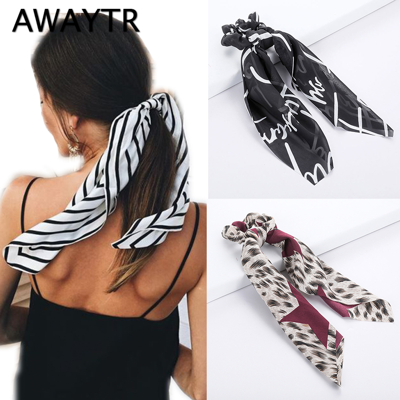 AWAYTR Spring Summer Elegant Hair Scarf For Women Elastic Hairband Dot Print Floral Pattern Hair Tie Detachable Girls Headwear