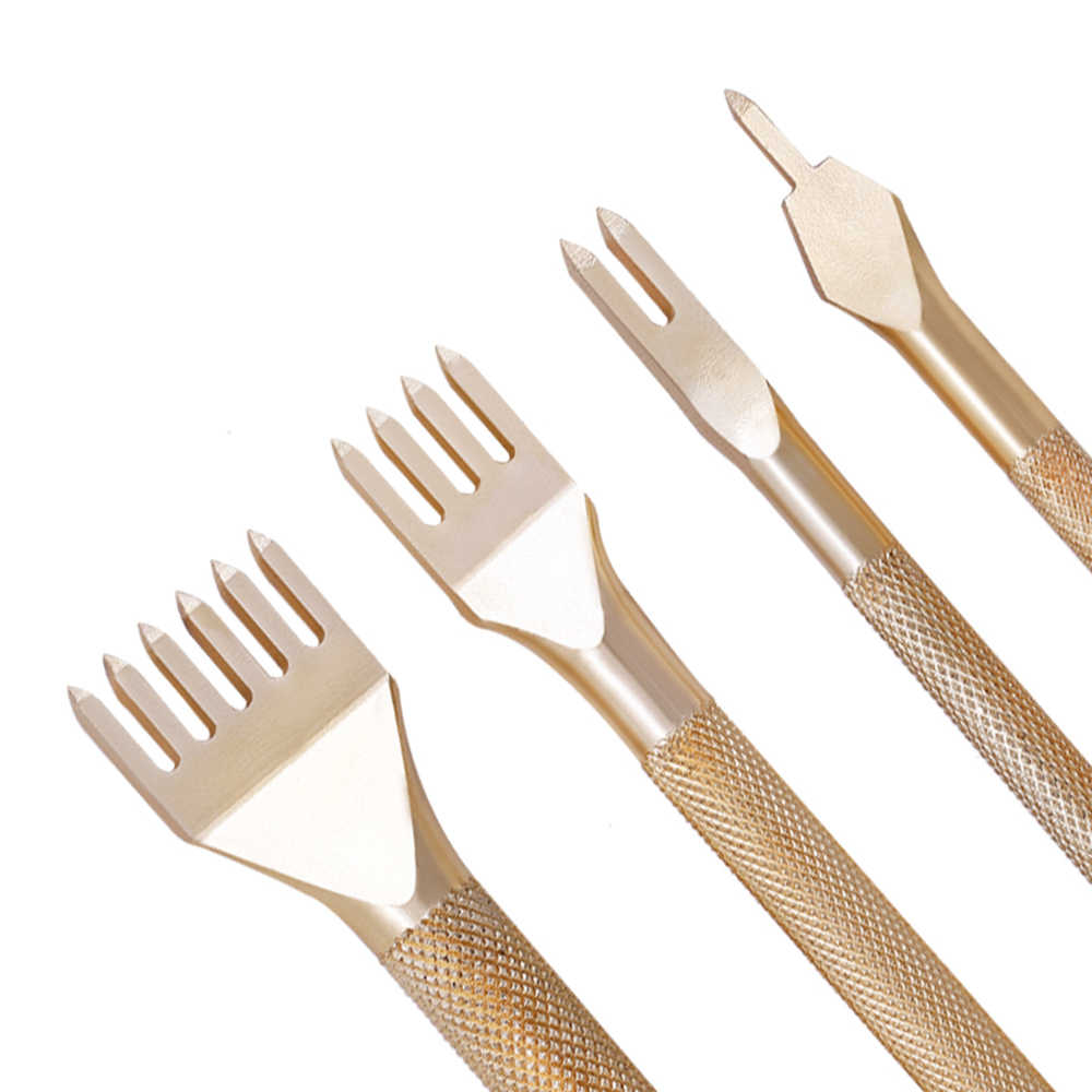 LMDZ cuir Craft 4mm 1/2/4/6 broches métal bricolage diamant laçage couture ciseau ensemble/maroquinerie outils de travail à la main perforateur