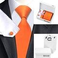 HN-266 Laranja Novelty Tie Hanky Abotoaduras Conjuntos de saco caixa de Presente 100% Gravatas De Seda dos homens Para Os Homens da Festa de Casamento Do Noivo