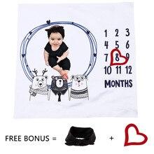 1set Infant Baby Milestone Blanket Photo Photography Prop Blankets Backdrop Cloth Calendar Bebe Boy Girl Accessories Headband