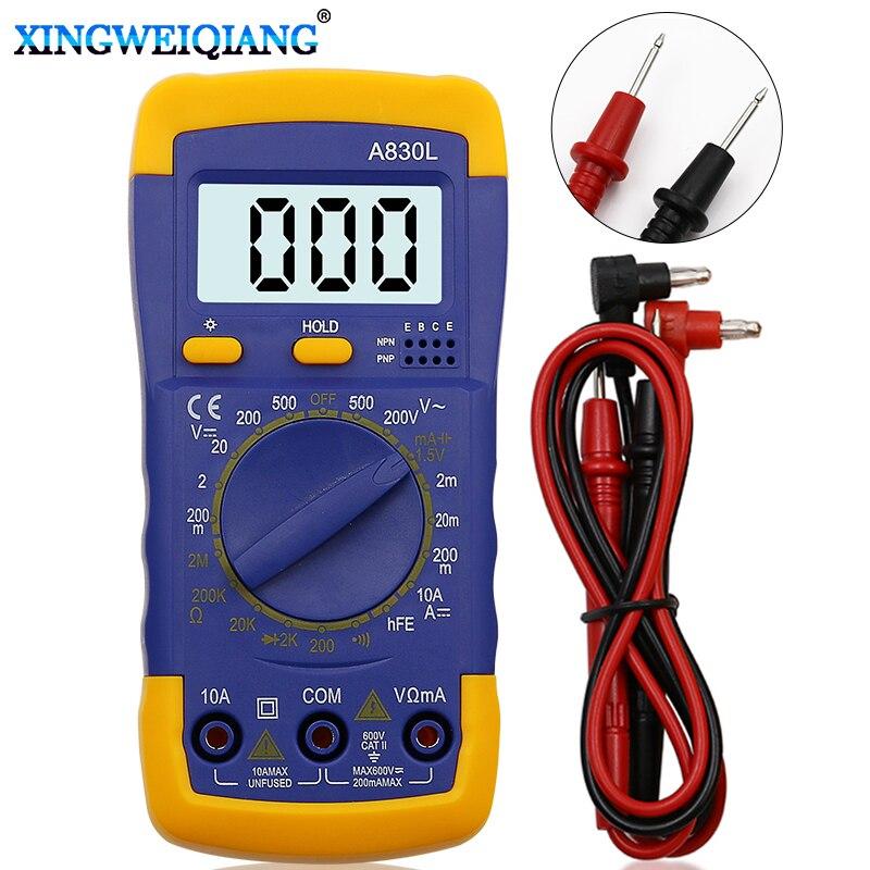 A830L Digital LCD Multimeter Voltmeter Ammeter AC DC OHM Volt Current TesterA830L Digital LCD Multimeter Voltmeter Ammeter AC DC OHM Volt Current Tester