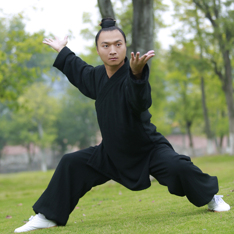 Top Grade Chinese Men Tai chi uniforms Long sleeve Linen Wudang Kung fu Clothing Shaolin Monk Suit Wushu Martial arts Clothes wudang male handmade linen tai chi uniform wushu kung fu shaolin training suit chinese stly jacket pants