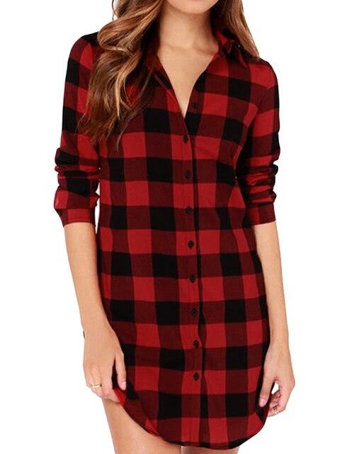 894d0ec8b98 Women Cotton Plaid Shirt Long Sleeve Irregular 5XL Plus Size Shirts Casual  Check Tunic Long Blouse