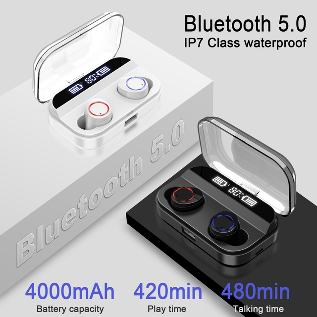 QCR TWS Earphone Bluetooth 5.0 Power Display Touch Control 3