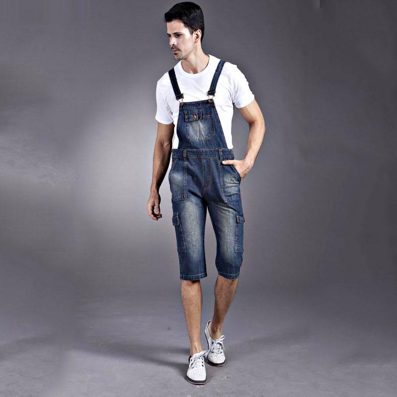 2018 new Men s Denim strap Shorts Men s multi pocket Denim Shorts have large size