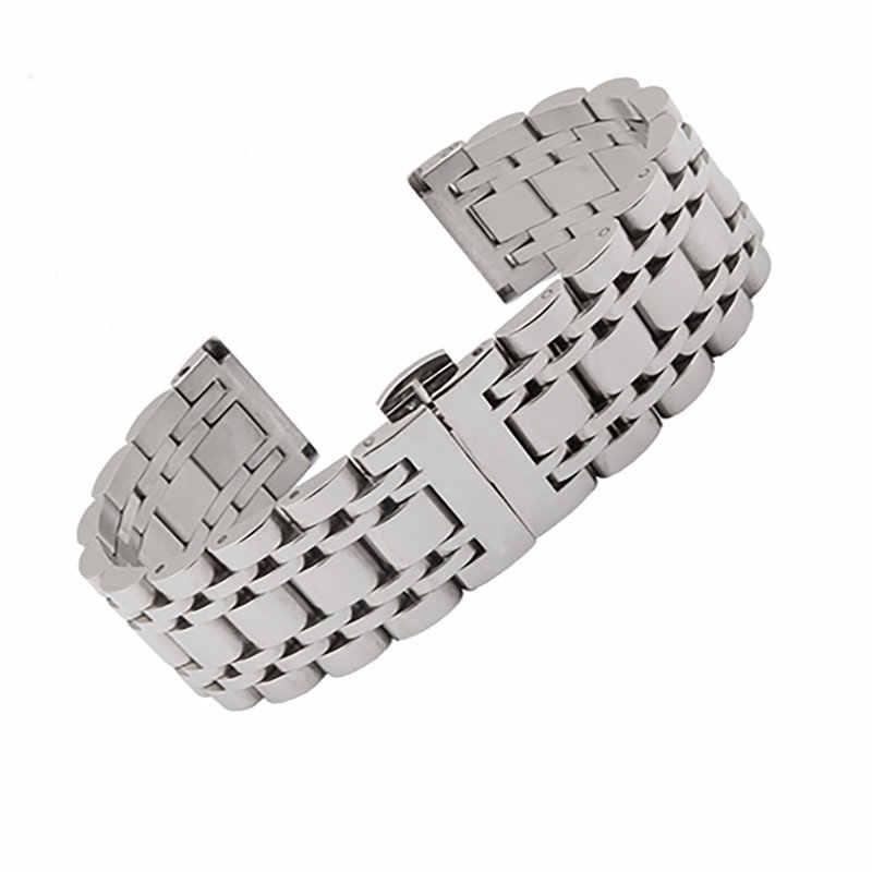 14 16 18 19 20 21 22 24 26 มม. เงินสอง 316L สร้อยข้อมือสแตนเลสสตีลนาฬิกาสำหรับ Rolex Tissot Tudor Omega Panerai