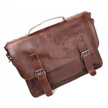 New Men/Women Casual Briefcase Business Shoulder Bag Leather Messenger Bags 14 inch Computer Laptop Handbag Men's Travel Bags
