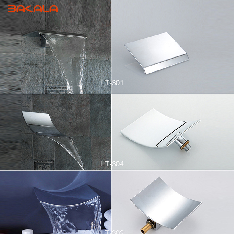 BAKALA Wholesale And Retail Wall Mounted Bathroom Tub Waterfall Spout Square-Round Faucet Spout Chrome Finish Brass Spout