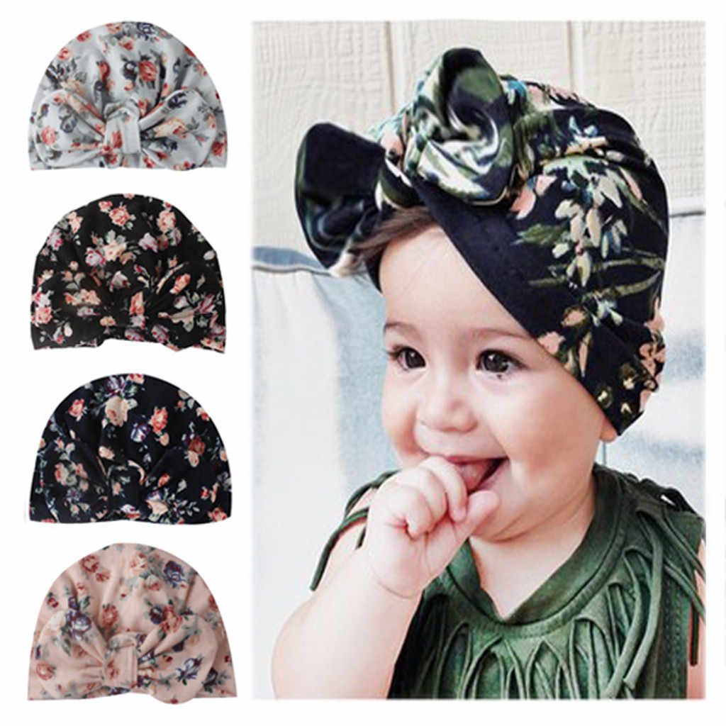 Baby Hats Newborn Girl Hat Children Cap Girls Boys Baby Girl Hats Floral Infant Turban Big Bow Hat Flower Print Beanie Cap