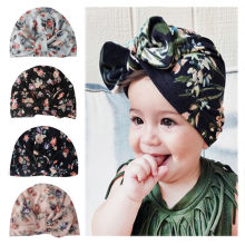 Baby Hats Newborn Girl Hat Children Cap Girls Boys Baby Girl Hats Floral Infant Turban Big Bow Hat Flower Print Beanie Cap(China)