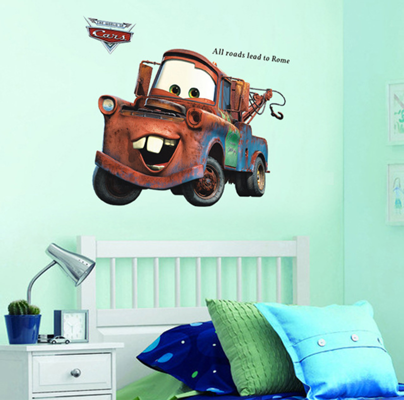 Cartoon movie cars wall stickers for kids room children for Cars movie wall mural