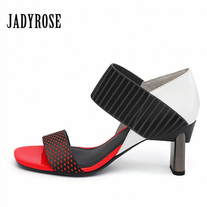 Jady Rose Red Summer Casual Women Shoes Fretwork Strange High Heel Sandals Dress Shoes Woman Peep Toe Slippers Gladiator Pumps цена
