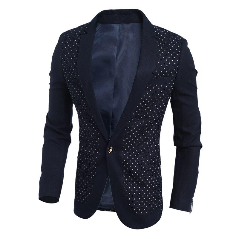 2016 font b Men s b font Printed Blazer Fashion Male Dot Printing Clothing Long Sleeve