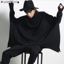 Oversize Men's Irregular Batwing Sleeve Autumn Sweatshirt Cloak 2017 Gothic Fashion Turtle-neck Loose Sweatshirts Hot New