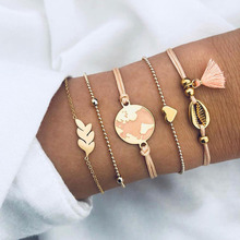 5 Pcs/Set Gold Link Chain Starfish World Map Charm Bracelet for Women Moon Sea Shell Forever Love Hand Bangle Set