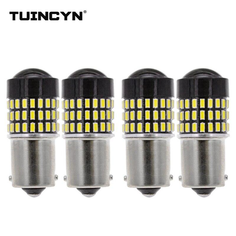 TUINCYN 4pcs LED Signal Light 1156 BA15S 3 Colors 78 x High Power 12/24V Lens Turn Signal Back Up Reverse Tail Brake LED Light