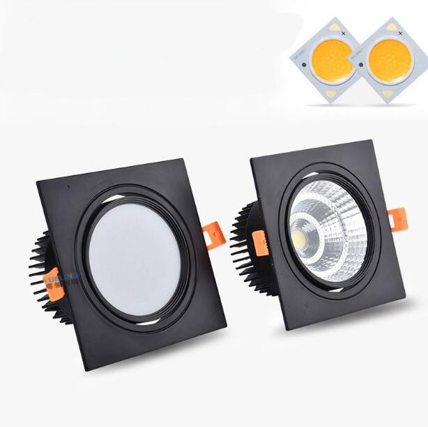Dimmable LED COB Spotlight Ceiling Lamp AC85-265V 7W 9W 12W 15W 18w Aluminum Recessed Downlights Square Led Panel Light