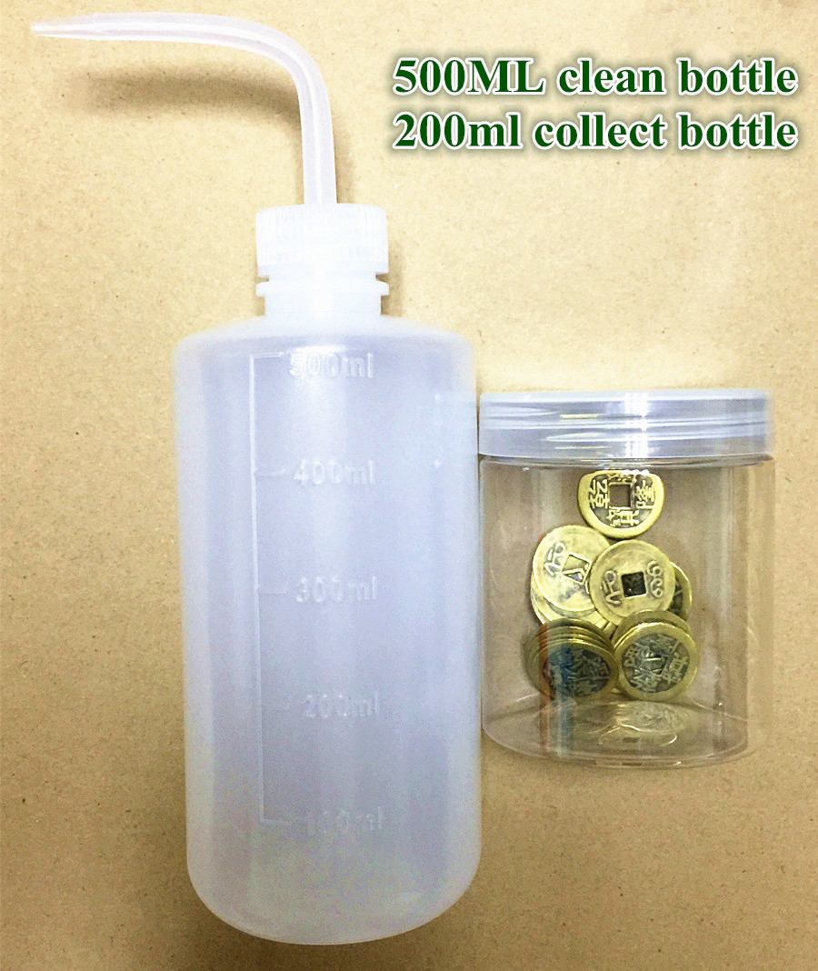 Nouveau détecteur de métaux en or 500ml Kit de bouteille propre de lavage outils de détecteur de métaux 200ml sable de lavage en or/pièces de monnaie ensemble de bouteilles