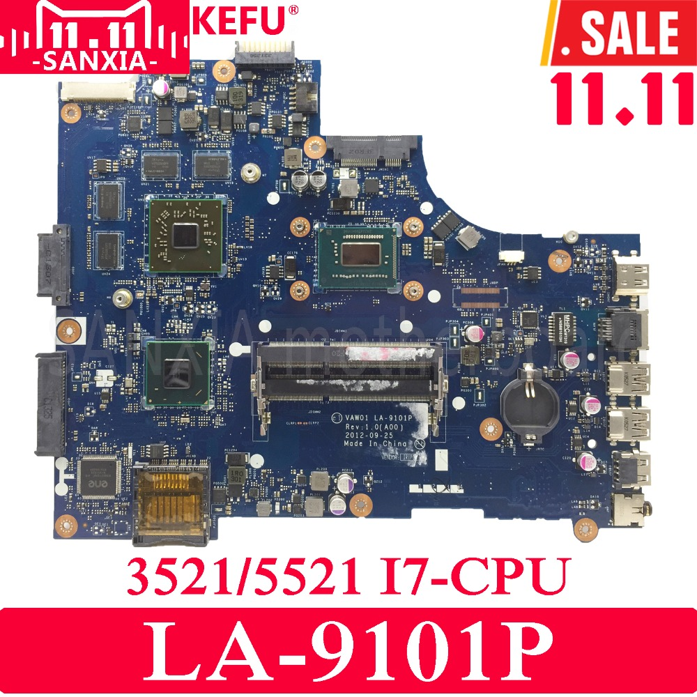 KEFU Inspiron VAW01 LA-9101P Laptop motherboard for DELL 3521 5521 VW55C 0VW55C Test original mainboard I7 CPU