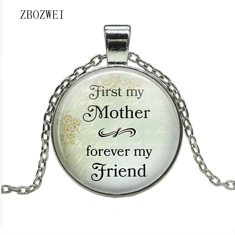 Fashion hot money first is my mother, will always be my friend Mother's Day item Glass Dome Pendant Love Mom Accessories Jewelry image