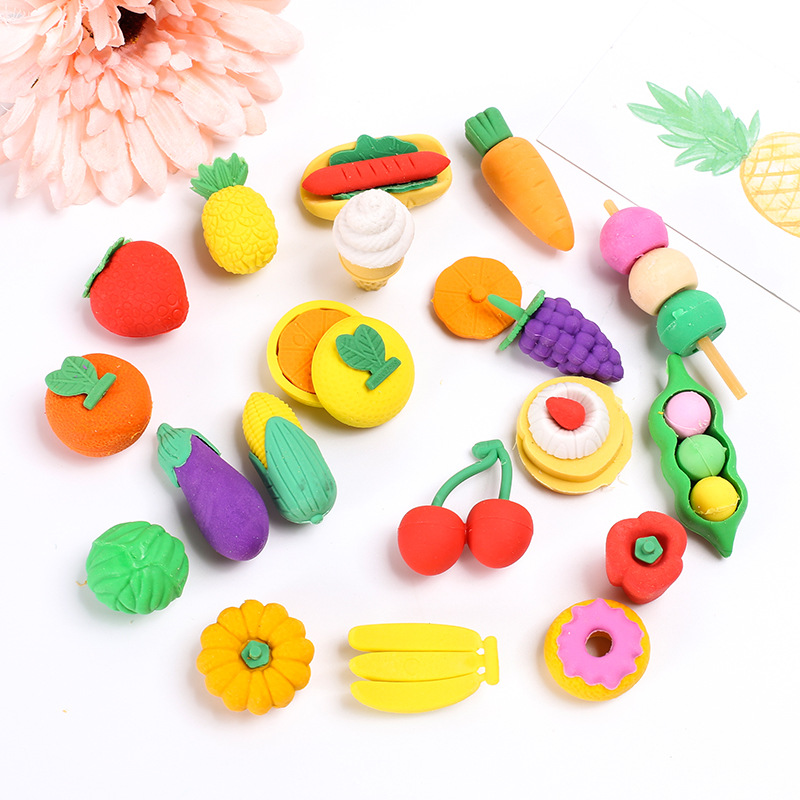Office & School Supplies Flight Tracker 4 Pcs/bag Cute Animal Fruit Dessert Eraser Creative Dinosaur Cartoon Man Rubber Novelty Item For Kids Gift Prize School Supply Warm And Windproof