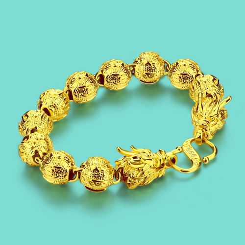 New Chinese Style Gold Jewelry Men 24k Gold Bracelet Dragon Design